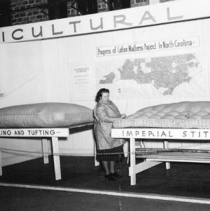 Display detailing the cotton mattress project at the 1940 NC State Fair