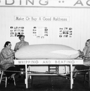 Display demonstrating how to make a mattress at the 1940 NC State Fair