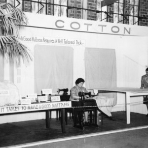 Home Demonstration display on mattress tickings at 1940 NC State Fair