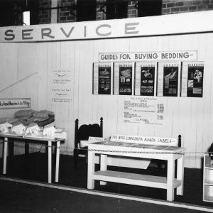 Display demonstrating how to buy bedding at 1940 NC State Fair