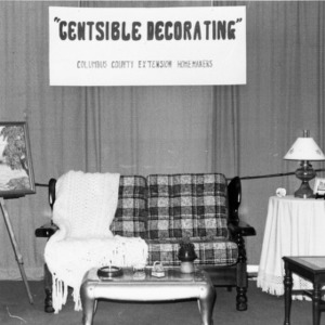 Display demonstrating economic decorating created by the Columbus County Extension Homemakers
