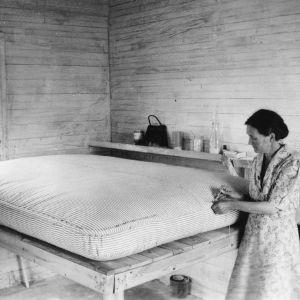 Women making a mattress