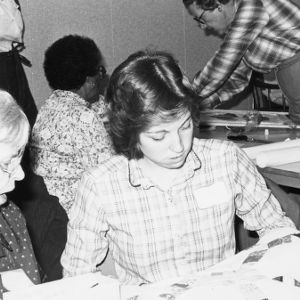 Group of women attending a quilting activity