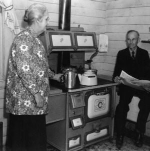 Mr. and Mrs. Vestal of Chatham County speaking in a kitchen