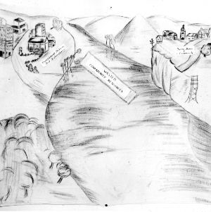 "Flannel board with drawing of the gulf between ""experiment stations and test laboratories"" and the ""rural home and community"""