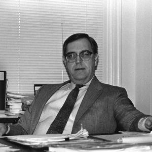 Franklin D. Hart at desk