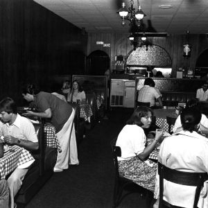 View of patrons at Two Guys Restaurant on Hillsborough Street