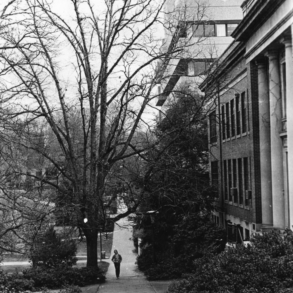 Walkway in front of Page Hall and Poe Hall, North Carolina State University.