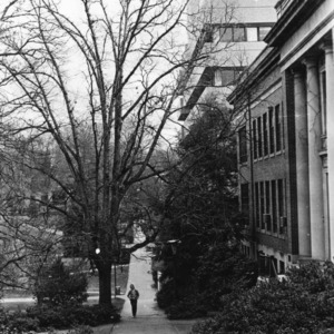 Walkway in front of Page Hall and Poe Hall