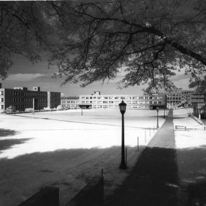 View of Williams Hall, Gardner Hall, and the patio of the Erdahl-Cloyd Union, North Carolina State College, 1958.
