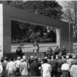 Alumni Centennial Gateway, dedication ceremony