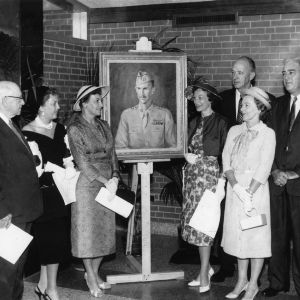 Bragaw family attends dedication of dorm named for Churchill Bragaw, 1959