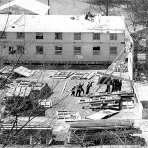 Temporary classrooms on the Court of North Carolina, east of the 1911 building.