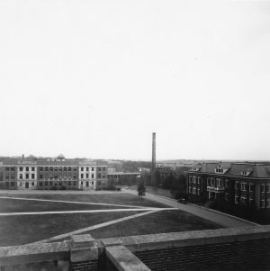 View of Daniels Hall and the Zoology Building on the North Carolina State College campus from the west, ca. 1940.