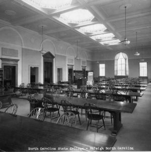 Main reading room of D. H. Hill Library, North Carolina State College