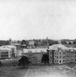Bird's-eye view of North Carolina College of Agriculture and Mechanic Arts looking east toward 1911 Building and Court of North Carolina.