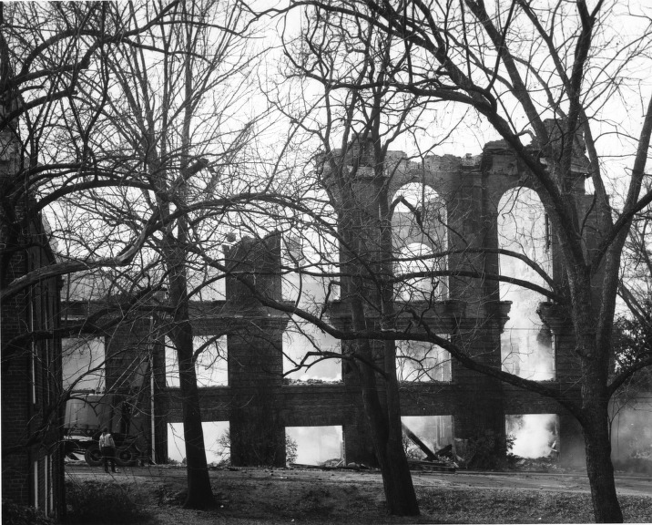 086fcb5835315 Pullen Hall morning after fire, February 1965 (Pullen Hall, NCSU ...
