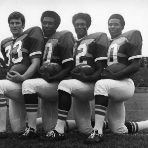 North Carolina State University fullback Stan Fritts, fullback Charley Young, running back Roland Hooks, and running back Willie Burden