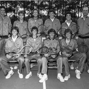 N.C. State tennis team group portrait, 1979 Atlantic Coast Conference champions.