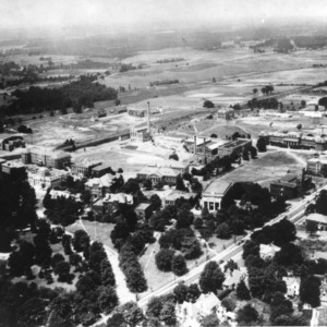 Aerial view of North Carolina State College campus, looking southwest