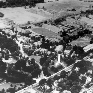 Aerial view of North Campus, looking west