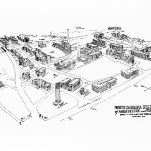 North Carolina State College of Agriculture and Engineering, bird's-eye view, omitting trees and landscaping, 1939.