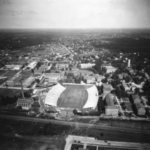 Aerial view of North Carolina State College, looking north toward Riddick Stadium