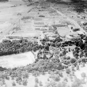 Aerial view of campus, looking west