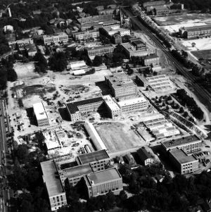 Aerial view of North and South campus, looking southeast