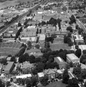 Aerial view of North Campus, looking west from Pullen Drive