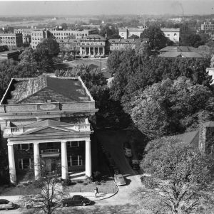 View of North Carolina State College campus, looking west from Memorial Bell Tower.