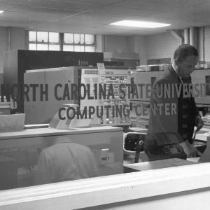 View looking through window of North Carolina State University Computing Center.
