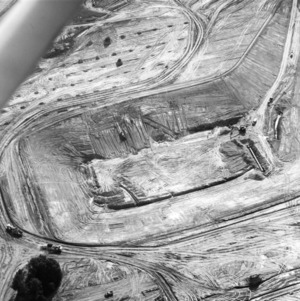Aerial view of Carter-Finley Stadium during early stages of construction