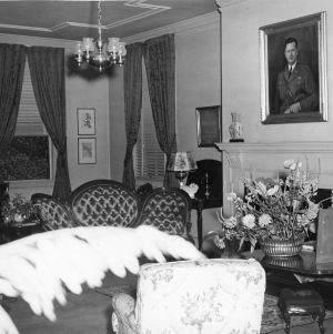 Living room in Chancellor's residence, North Carolina State College