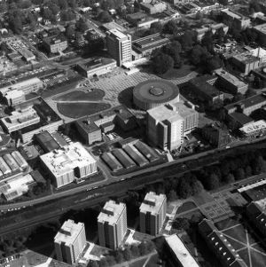 Aerial view of North Campus, looking northeast