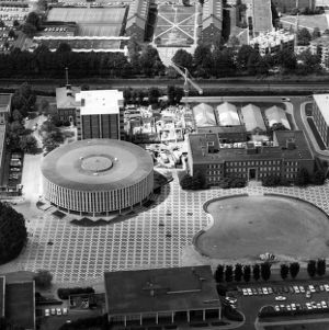 Aerial view of University Plaza (the Brickyard)