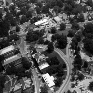 Aerial view of original campus, looking towards Hillsborough Street