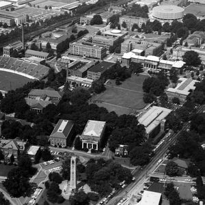 Aerial view of campus, looking southwest