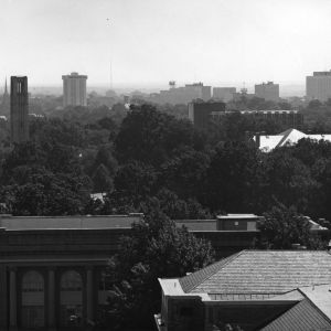 Bird's-eye view of Ricks Hall and surroundings on the North Carolina State University campus.