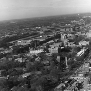 Aerial view of North Carolina State University, looking southwest