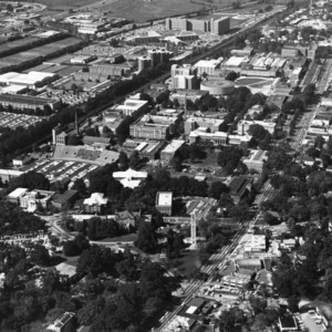Aerial view of North Carolina State University, looking west