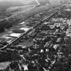 Aerial view of North Carolina State College looking west, ca. 1951