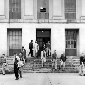 Withers Hall, students on the front steps