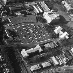 Aerial view showing Riddick Stadium parking lot and vicinity, North Carolina State University