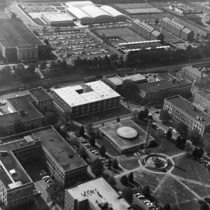 Aerial view of North Carolina State University, looking southwest toward diesel engineering fountain and Burlington Engineering Laboratories.