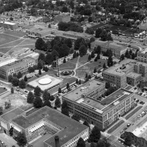 Aerial view of North Carolina State College, looking northeast