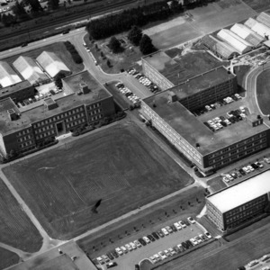 Aerial view of Williams Hall, Gardner Hall, and Scott Hall