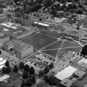 Aerial view of North Campus, looking north
