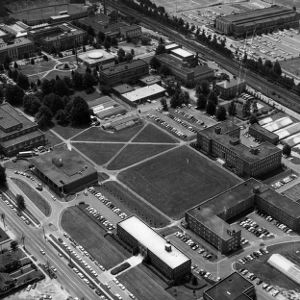 Aerial view of North Campus, looking south