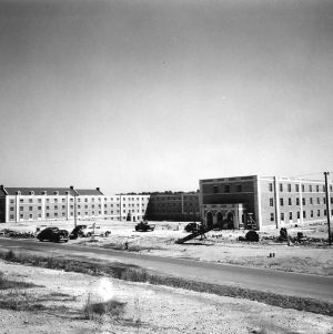 Owen Hall, left, and Tucker Hall, State College's two newest dormitories, are seen here. The buildings cost $1,100,000 and contain facilities for 1,200 students.